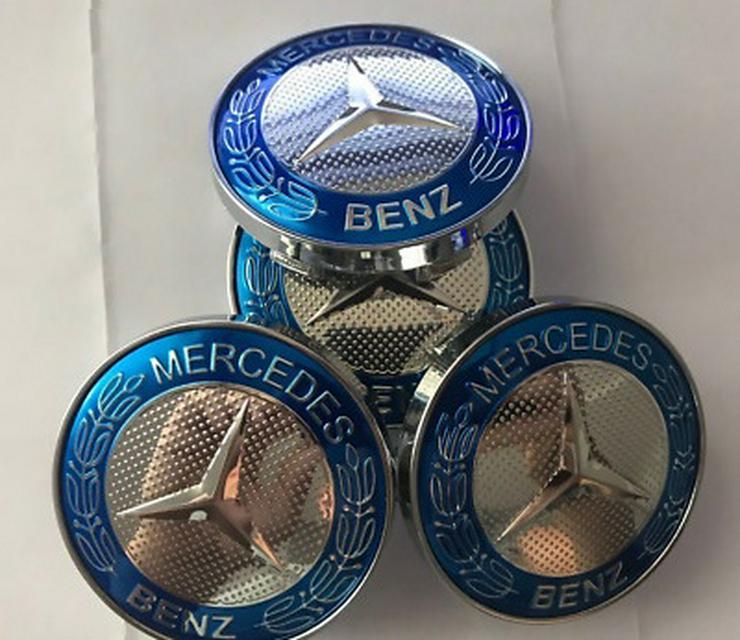 4 Stück Mercedes Blau Sterne Brabus Nabendeckel Nabenkappen 60mm   A4154002800