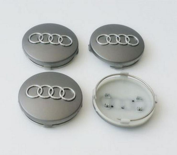 """4 Stück Audi 60mm Nabenkappen Nabendeckel Silber 4B0601170"""