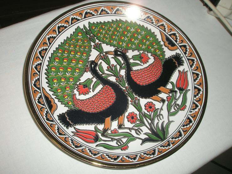 Wand-bzw.Obstteller / Keramik mit Pfauenmotiv