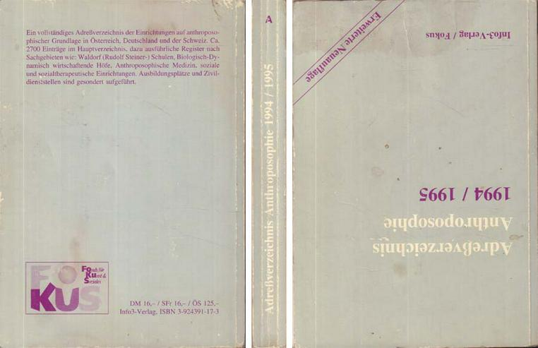 Buch - Adressverzeichnis Anthroposophie 1994/1995 - ca. 2700 Adressen