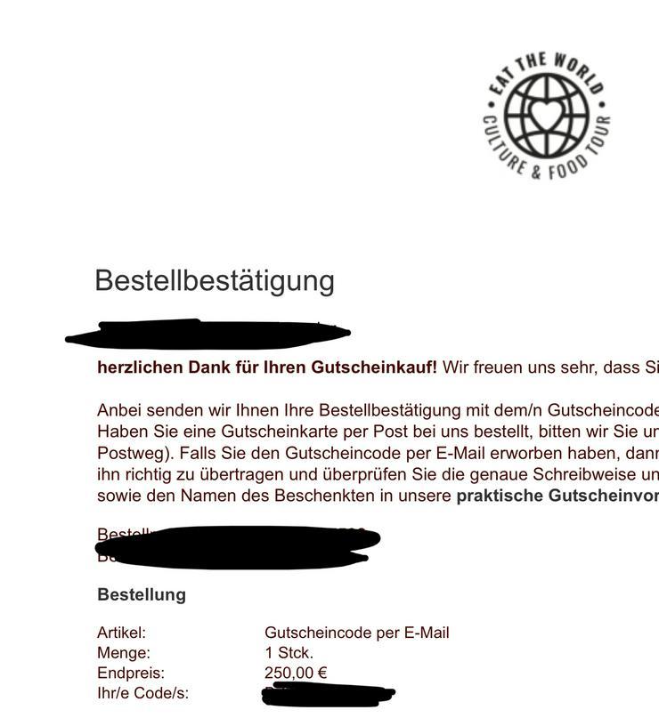 Bild 2: Gutscheine 500€ und 250€ eat-the-world