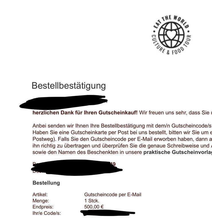 Gutscheine 500€ und 250€ eat-the-world  - Geschenke & Erlebnisse - Bild 1