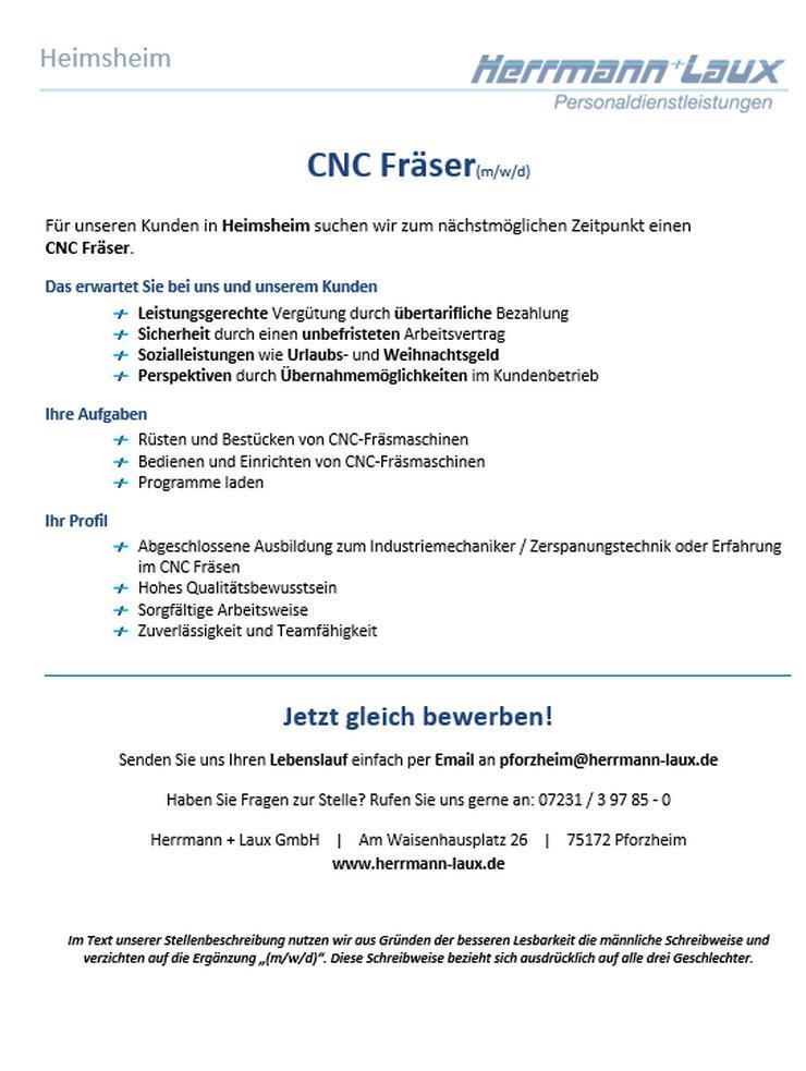 CNC Fräser(m/w/d)