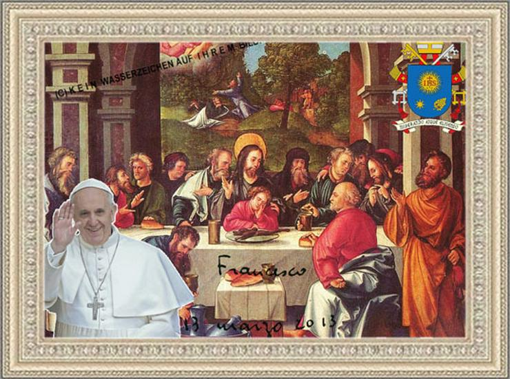 Bild 4: PAPST FRANZISKUS Abendmahl. Deko. Geschenk. Souvenir. Lifestyle. Wandbild. Autogramm.