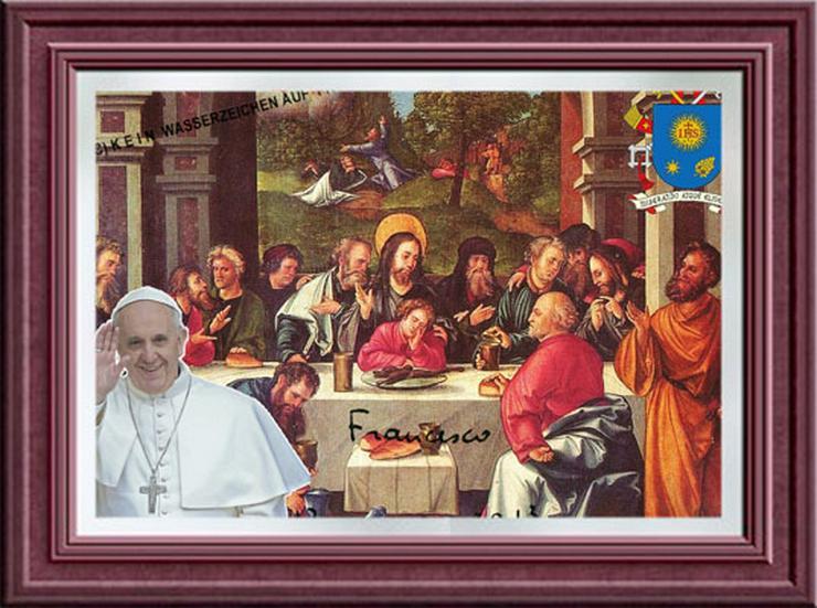 Bild 3: PAPST FRANZISKUS Abendmahl. Deko. Geschenk. Souvenir. Lifestyle. Wandbild. Autogramm.