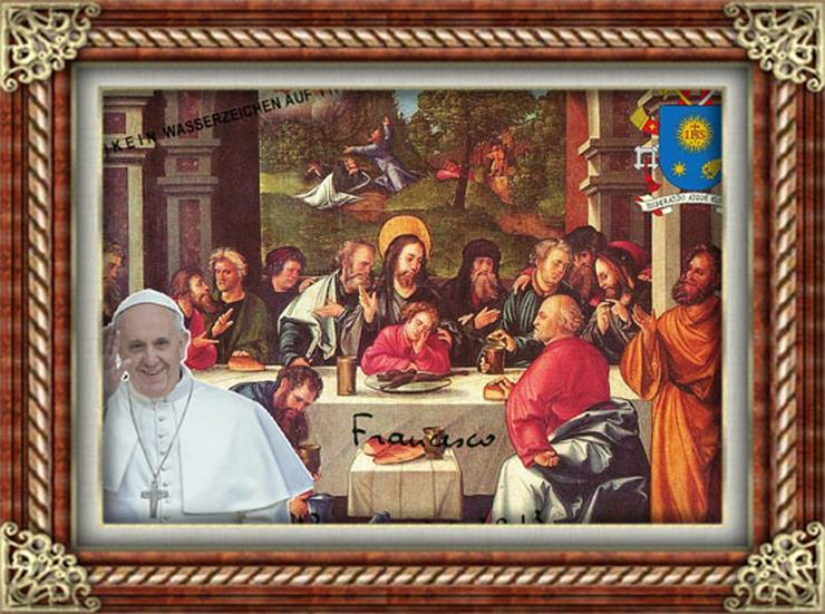Bild 5: PAPST FRANZISKUS Abendmahl. Deko. Geschenk. Souvenir. Lifestyle. Wandbild. Autogramm.