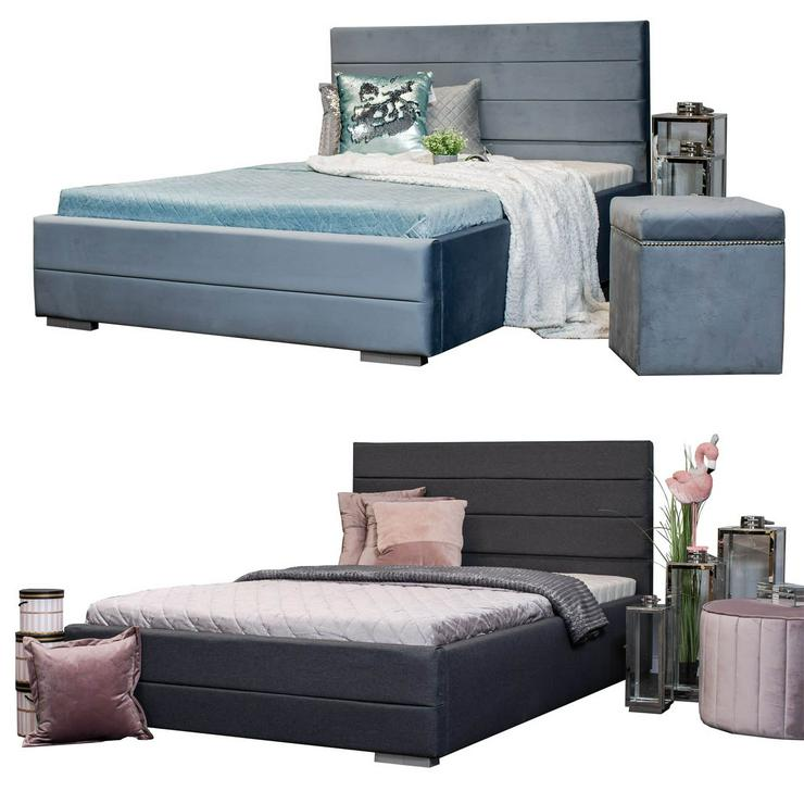 Bett Polsterbett mit Lattenrost Designbett Doppelbett 140x200