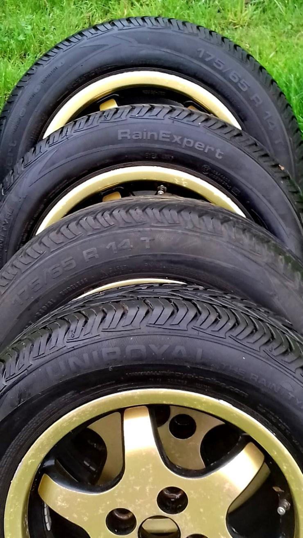Bild 5: Alufelgen- 6j+14H2 ET 42, Lochkreis 4+100 Opel, (gebraucht), Reifen-175/65 R 14 T, Uniroyal  RainExpert, 3 Monate lief (4 Jahre ).