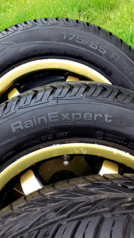 Bild 4: Alufelgen- 6j+14H2 ET 42, Lochkreis 4+100 Opel, (gebraucht), Reifen-175/65 R 14 T, Uniroyal  RainExpert, 3 Monate lief (4 Jahre ).