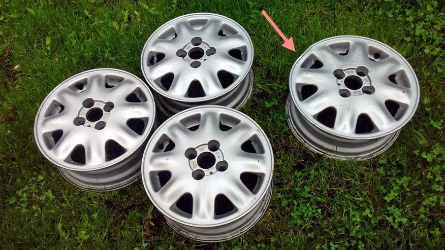 Alufelgen – 5 1/2J x 14 , Lochkreis – 4x100 , ET 49 , KBA 41152 (Opel), 3 Stücke  – Guter Zustand. , vierte beschädigt Rand, siehe Foto.