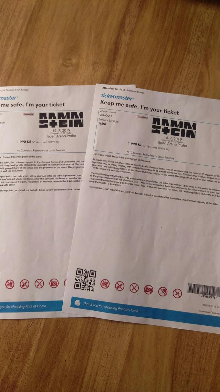 2 Rammstein Tickets für Prag 16.7.2019 - Weitere - Bild 1