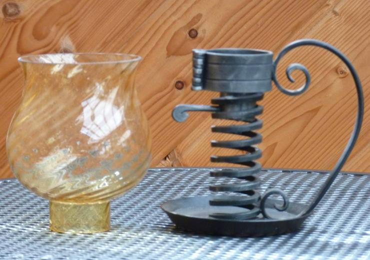 WINDLICHT - Glas/Metall schwarz geschmiedet -für Drinnen.