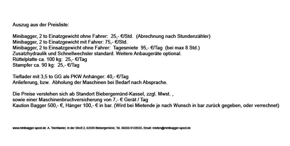 Bild 3: Minibagger mit und ohne Fahrer zu Miete ~~  Minibagger-Spezi  ~~