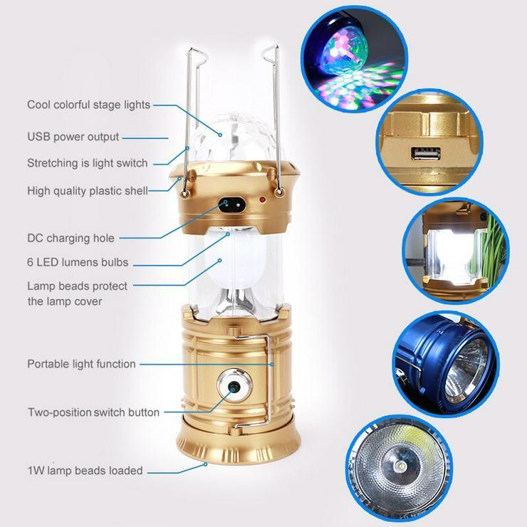 LED Laterne Camping USB Lampe Taschenlampe - Verstärker - Bild 1