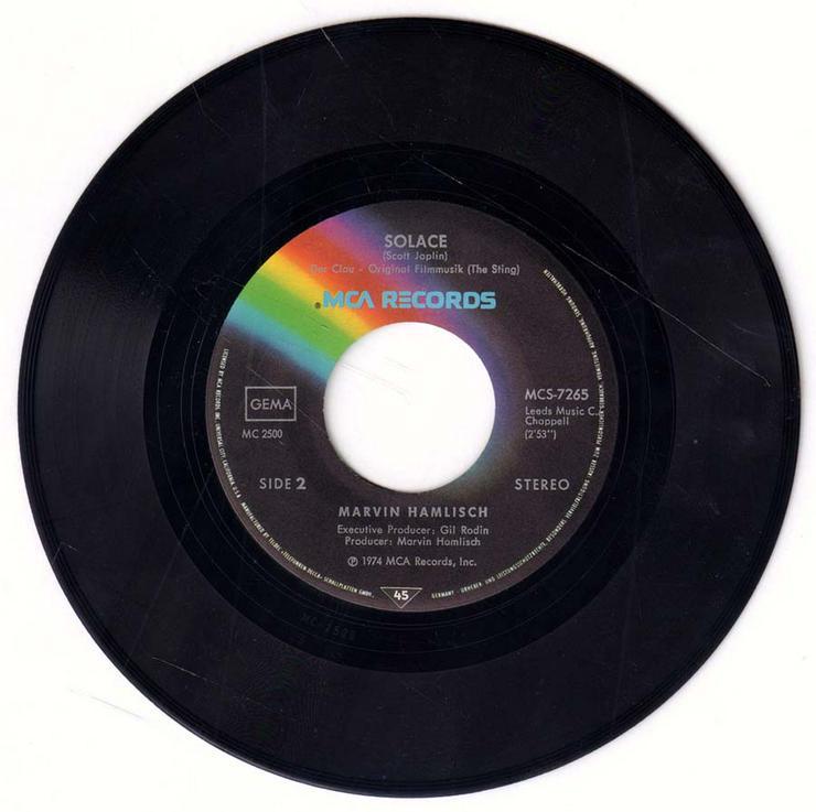 Bild 4: Schallplatte Vinyl 7'' Single - Filmmusik aus Der Clou - The Enterainer / Solace