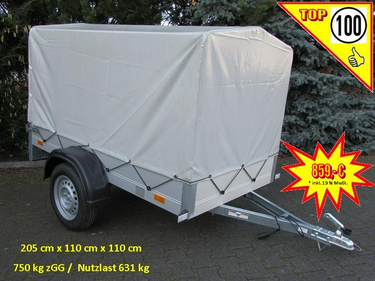 Lagerbestand: 750 kg Anhänger Alu-Aufbau 205 x 110 cm Hochplane