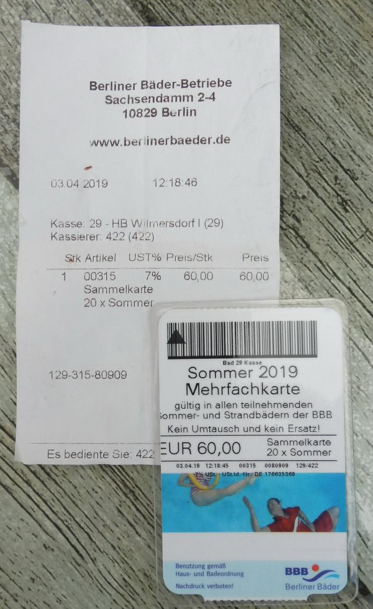 Mehrfachkarte  20 x ,Sommer 2019, BBB, für alle Sommer und Strandbäder in Berlin - Sport & Wellness - Bild 1