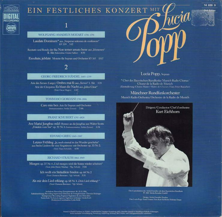 Bild 2: Schallplatte Vinyl 12'' LP - Ein festliches Konzert mit Lucia Popp - von 1987