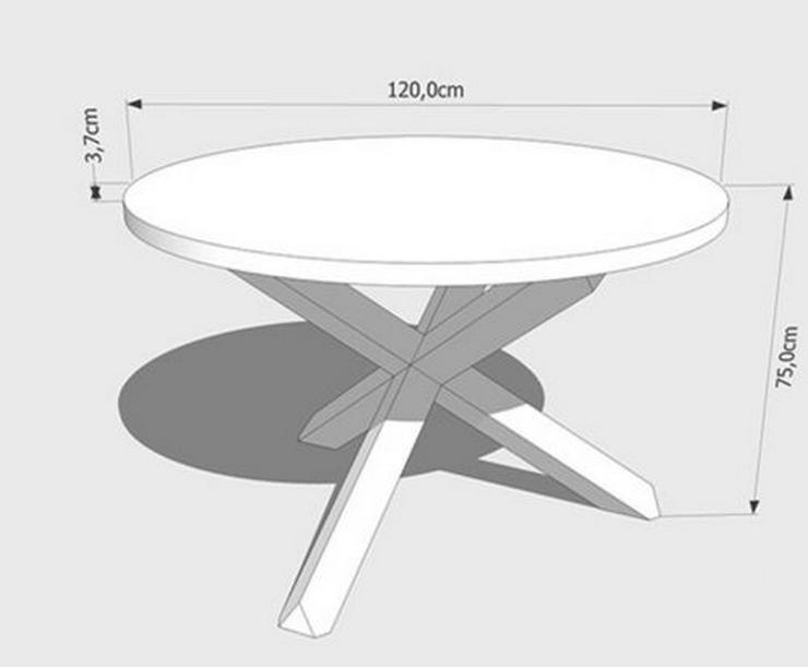 Bild 6: COLIN EICHENTISCH COUCHTISCH RUNDE TISCHPLATTE LACKIERT MASSIVHOLZ 120x120x75cm