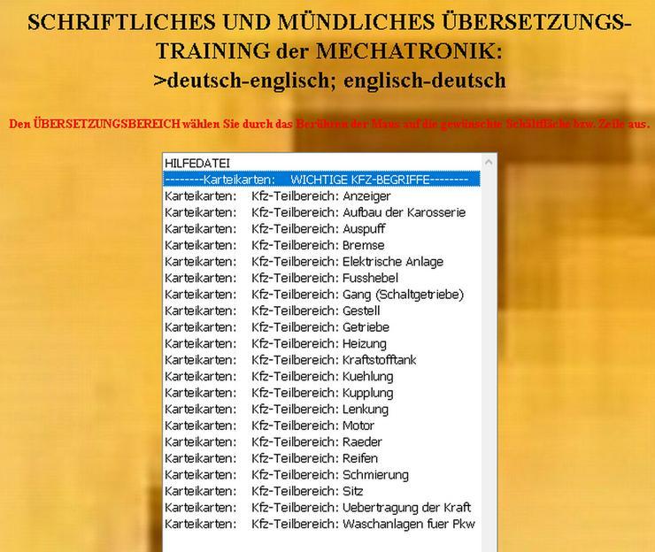 Bild 2: Karteikarten-Vokabeltrainer fuer Mechatroniker deutsch-englisch