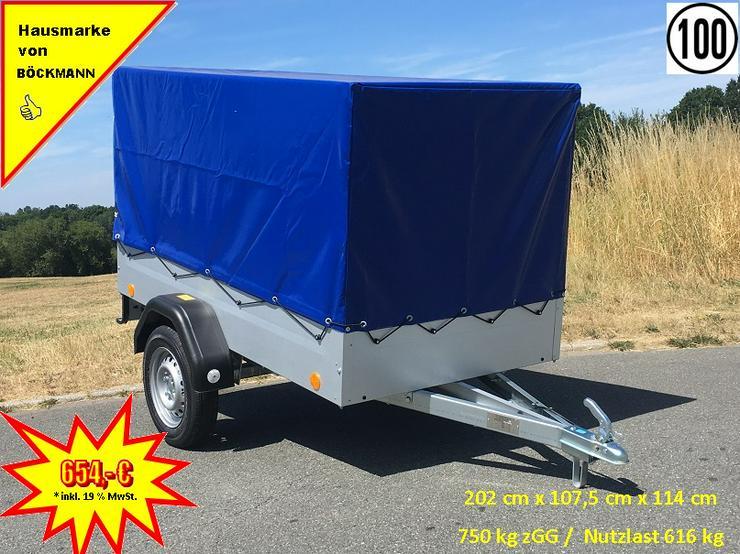 BÖCKMANN – TPV Anhänger inkl. Hochplane blau und 100 km/h