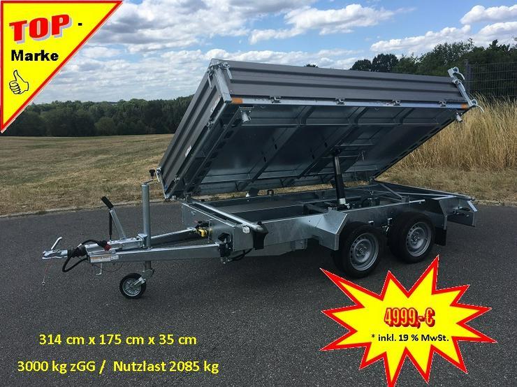 Humbaur 3000 kg Dreiseitenkipper Stahl 314 x 175 cm mit E-Pumpe - Kastenanhänger & Kipper - Bild 1