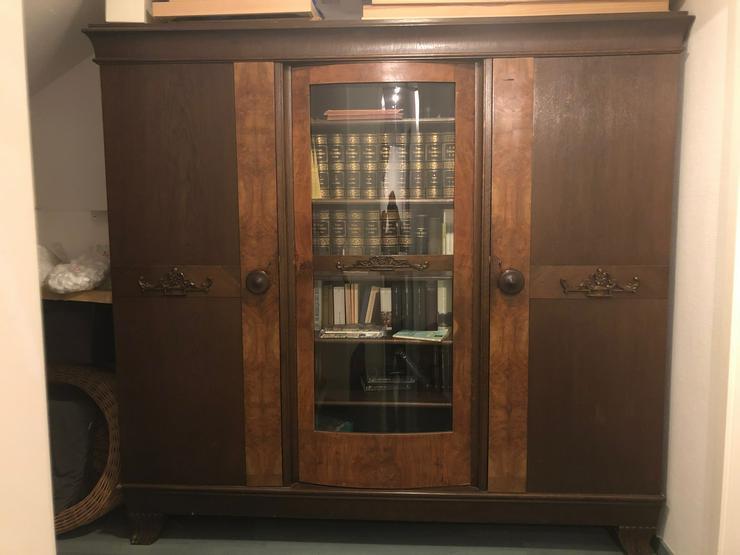 Bücherschrank Eiche dunkel mit Glastür