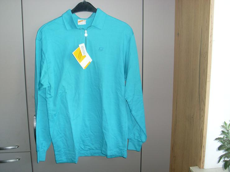 NEU: Herren Polo- T Shirt langarm Gr. 48/M türkis v. Mäser