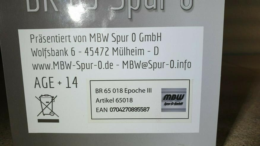 Bild 6: MBW 65018 Spur 0 DB Dampflok BR 65 Betr.-Nr. BR 65 018