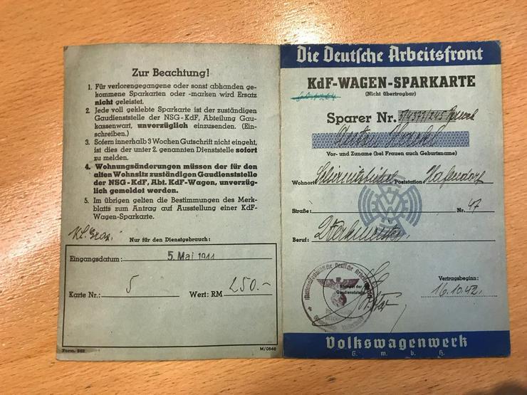 Bild 2: OldtimerVolkswagen - KDF - Sparkarten 2 Originale zu verkaufen