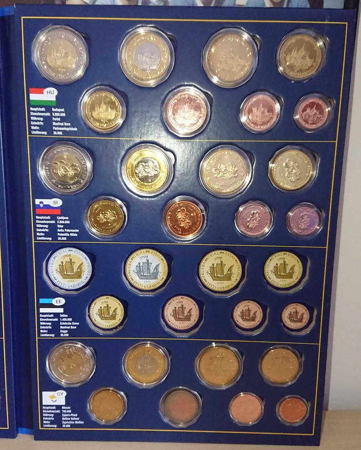 Bild 5: Sonderprägungen der EURO-Münzentwürfe  CZ / PL / HU / SI / CY