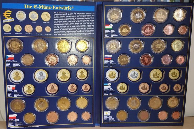 Bild 2: Sonderprägungen der EURO-Münzentwürfe  CZ / PL / HU / SI / CY