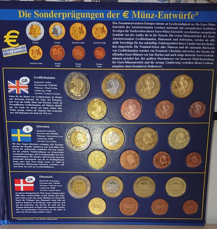 Bild 4: Sonderprägungen der EURO-Münzentwürfe  GB / S /DK und Ausgaben der Deutschen Münzprägestätten