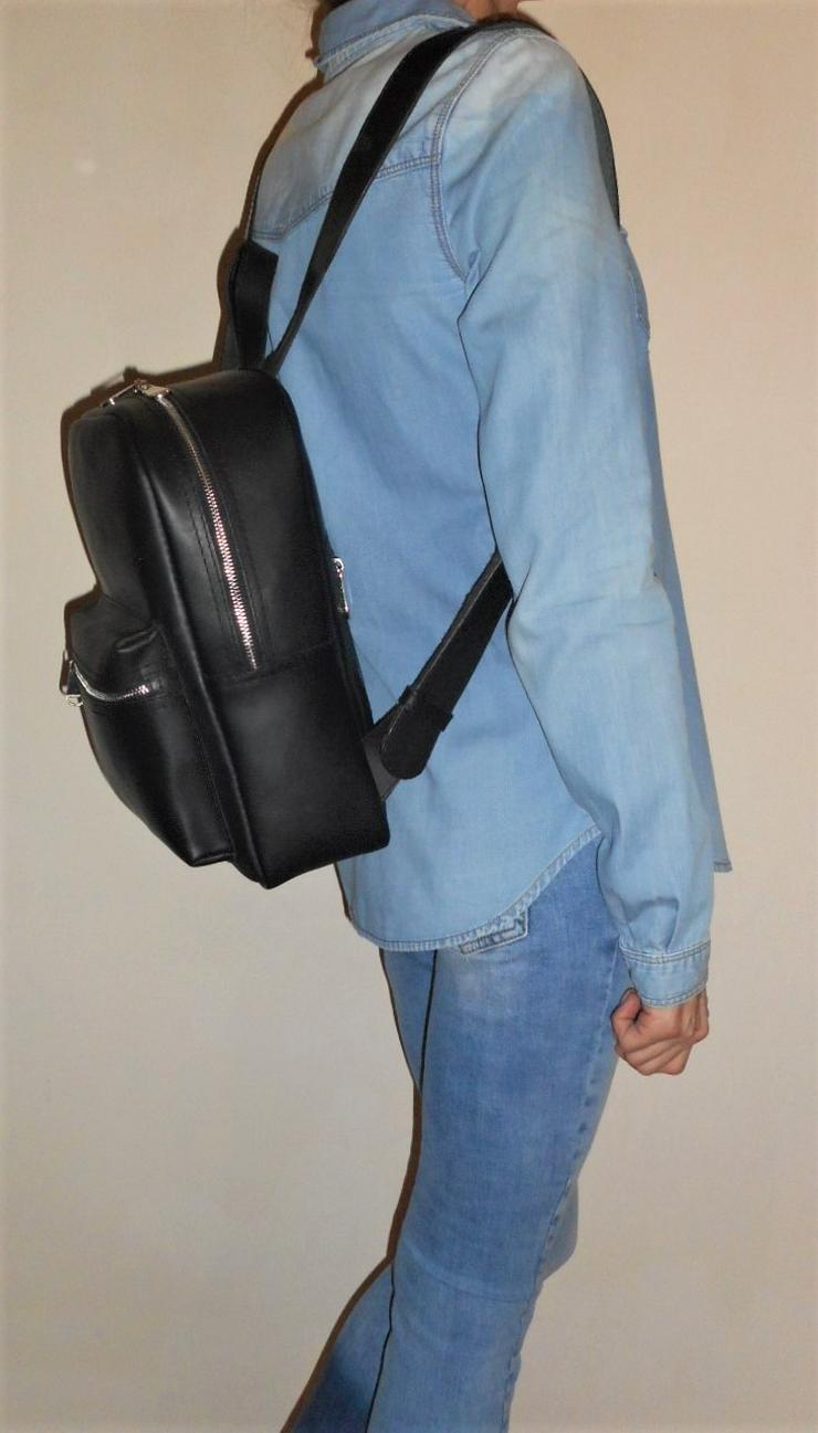 Bild 5: Damen Tasche Echtleder Rucksack Backpack Alami Neu Schwarz neu
