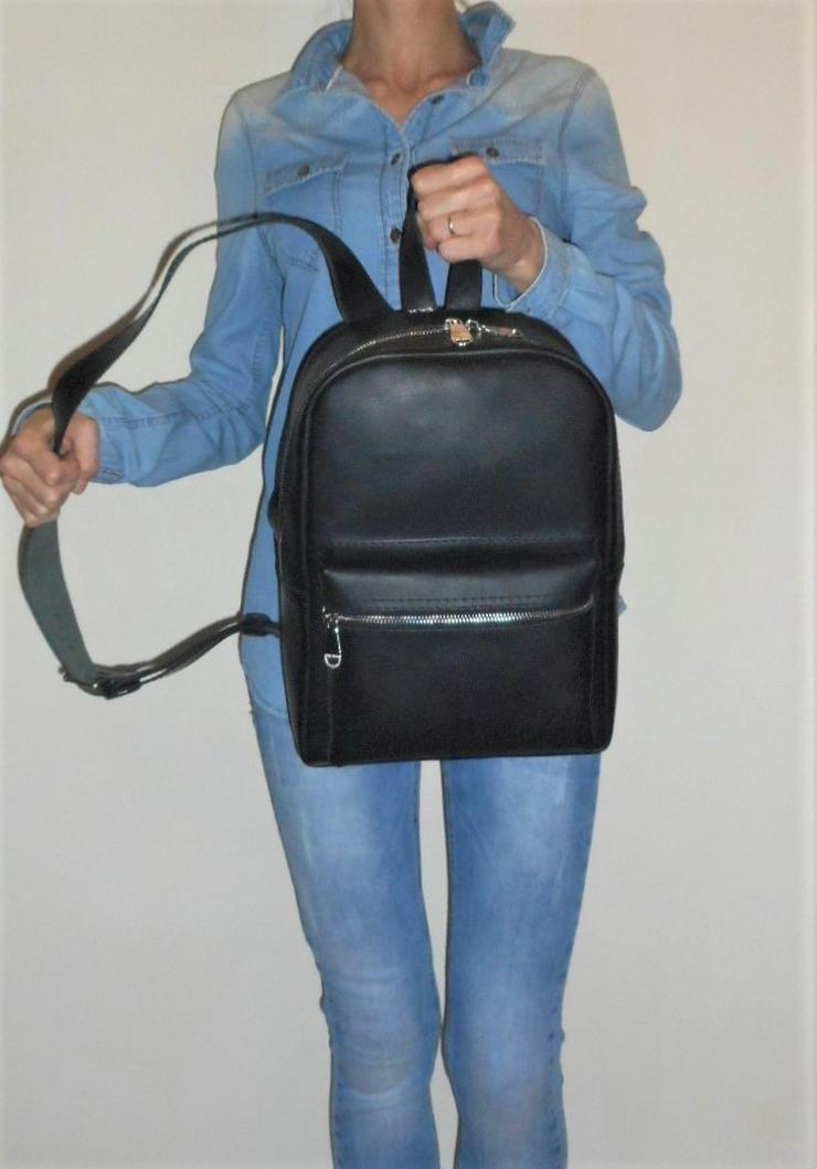 Bild 2: Damen Tasche Echtleder Rucksack Backpack Alami Neu Schwarz neu