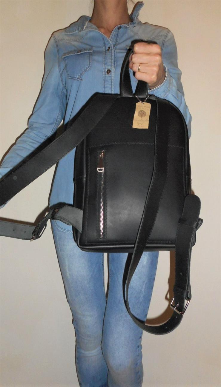 Bild 6: Damen Tasche Echtleder Rucksack Backpack Alami Neu Schwarz neu