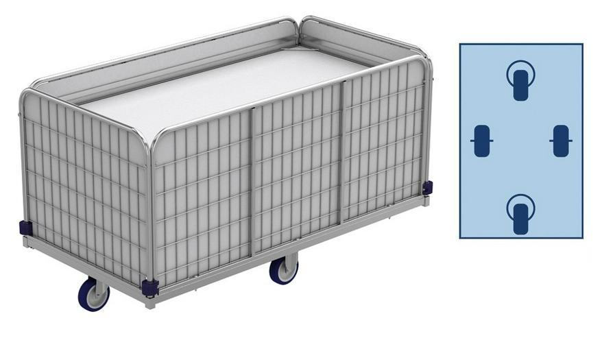 Federbodenwagen, Wäschewagen (Transportwagen) für Wäschelogistik. 420 Liter, 66 kg. Modell ML 14475-0,79