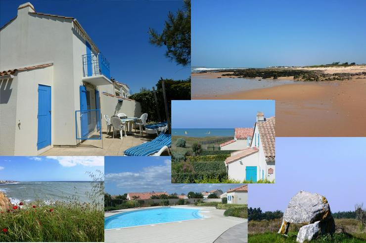Gemütl.Strandhaus mit Meerblick vom Balkon in Anlage mit Pool und Tennis, Strand 25om, Brétignolles-sur-Mer