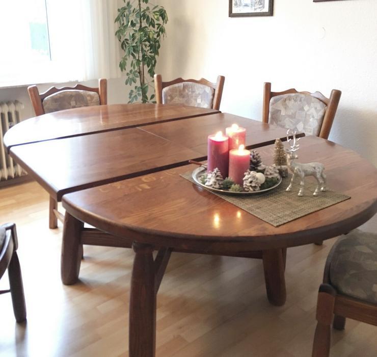 Bild 3: Schöner rustikaler Eichentisch mit 6 Stühlen