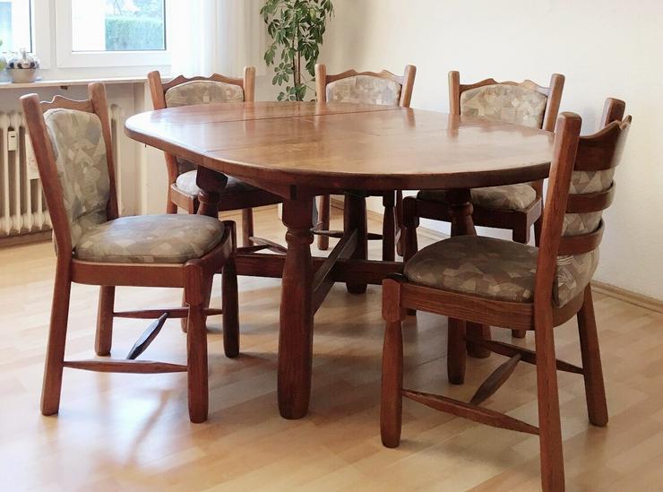 Schöner rustikaler Eichentisch mit 6 Stühlen - Kompletteinrichtungen & Essgruppen - Bild 1