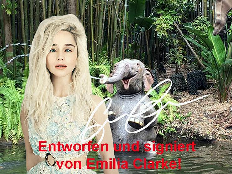 EMILIA CLARKE Original Foto signiert Souvenir T-shirt Top Sweatshirt