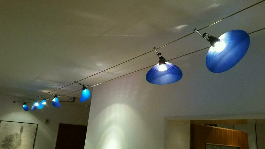 Halogen Lampen 7 Stück a 20 Watt mit Trafo und Seilsystem.