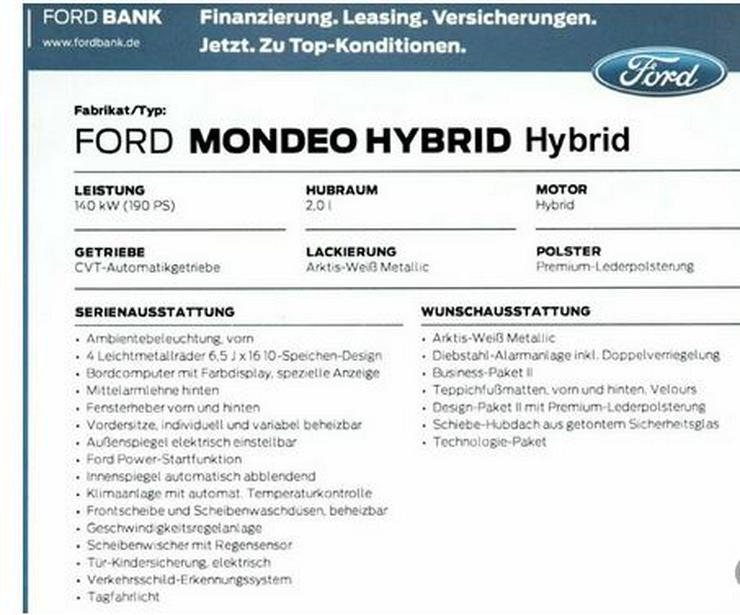 Bild 4: Ford Mondeo Voll Hybrid  Voll Ausstattung Garantie auch noch drauf
