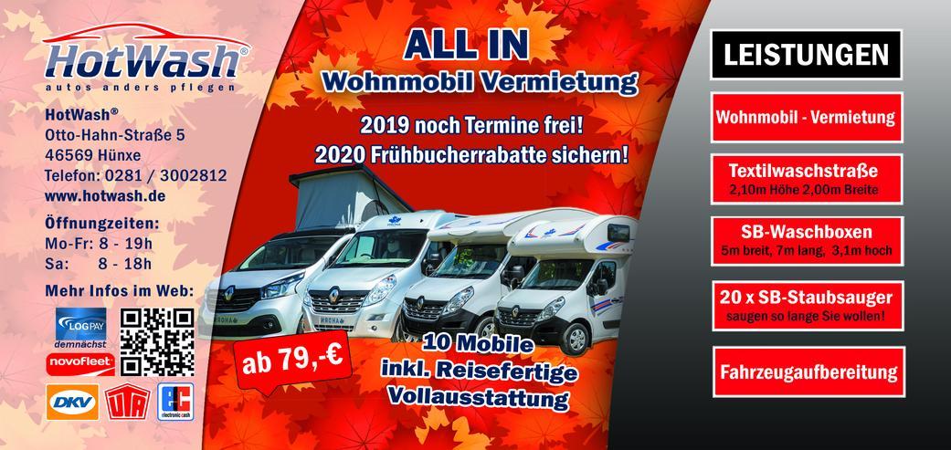 Bild 6:  Wohnmobil mieten1 -6 Personen 2020 Termine frei ab75- 145€ ALL In, auch mit Hund