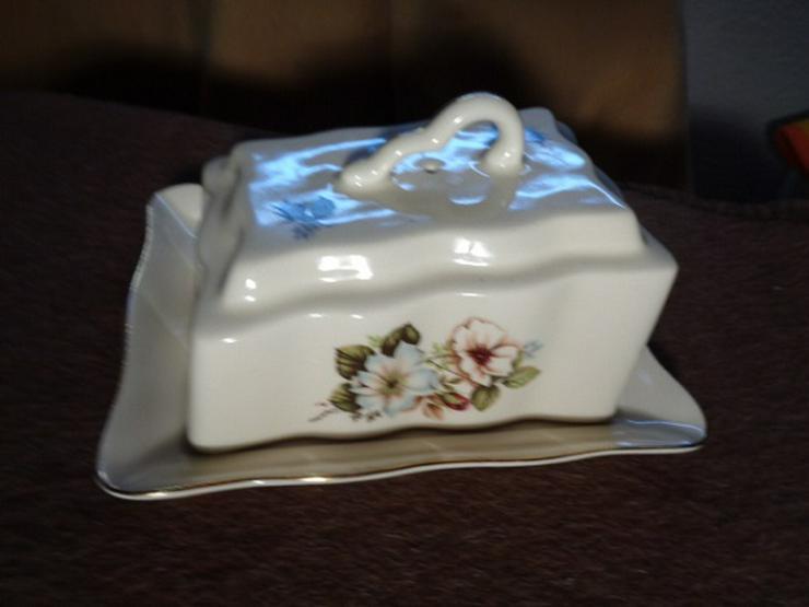 Große alte Kuriose Butter-Käsedose mit Goldrand
