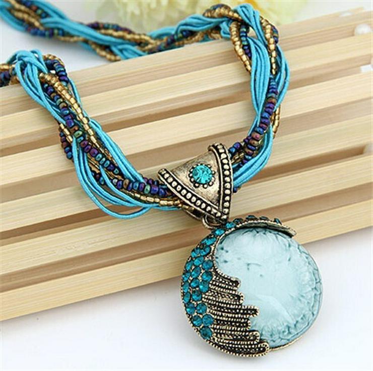 Superschöne Style Halskette m Kristall Edelstein Anhänger NEU/OVP