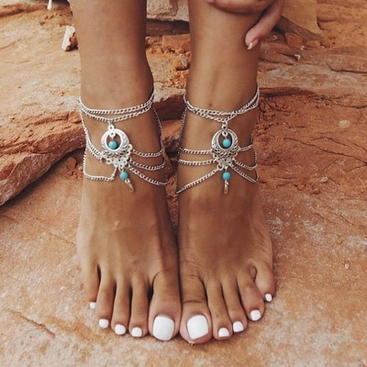 Quastenfußkette Fußkette, Armband, Körperschmuck Frauen/Mädchen