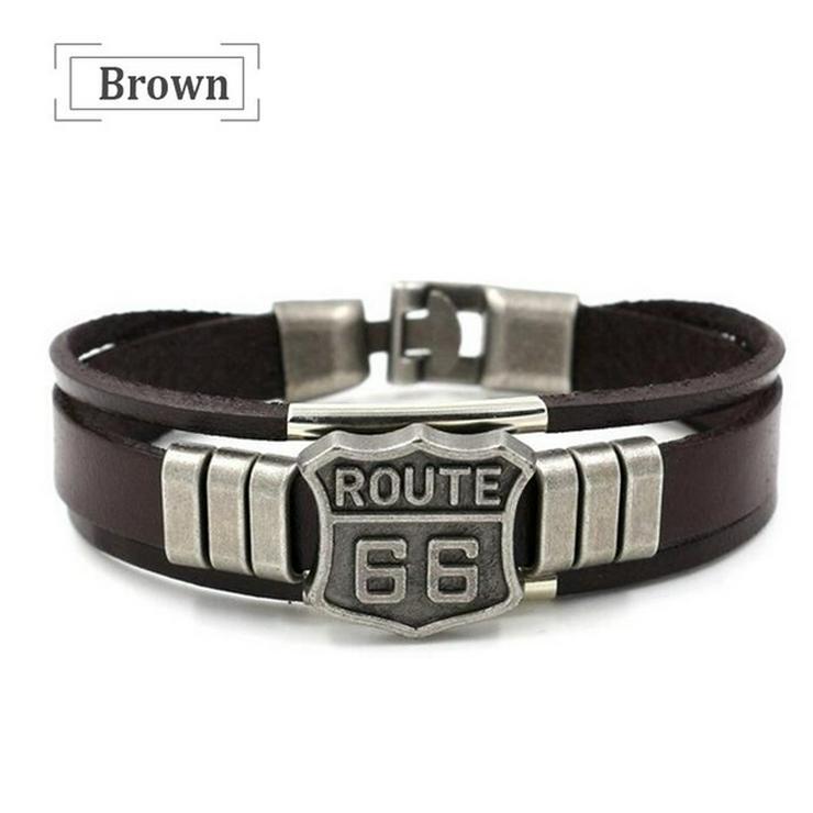 ROUTE 66 Leder Armband, mehrlagig Armband, Top Qualität NEU/OVP