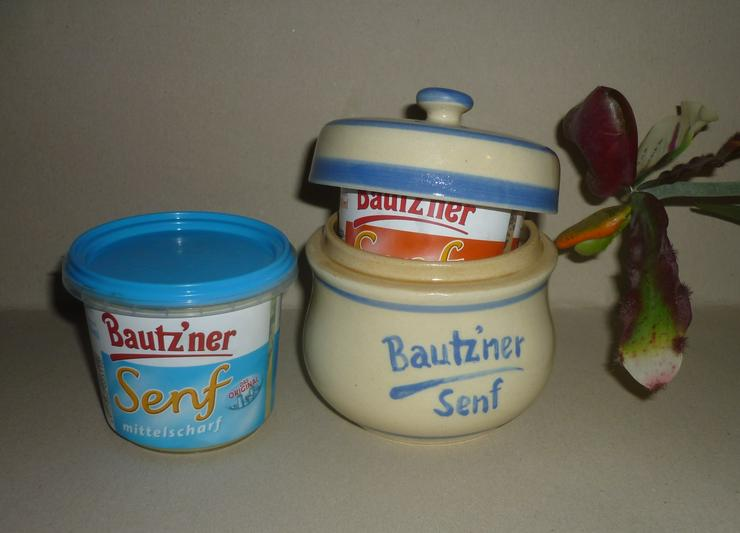 Bild 1: Bautzner Senftopf beige - blau  incl. Bautzener Becher