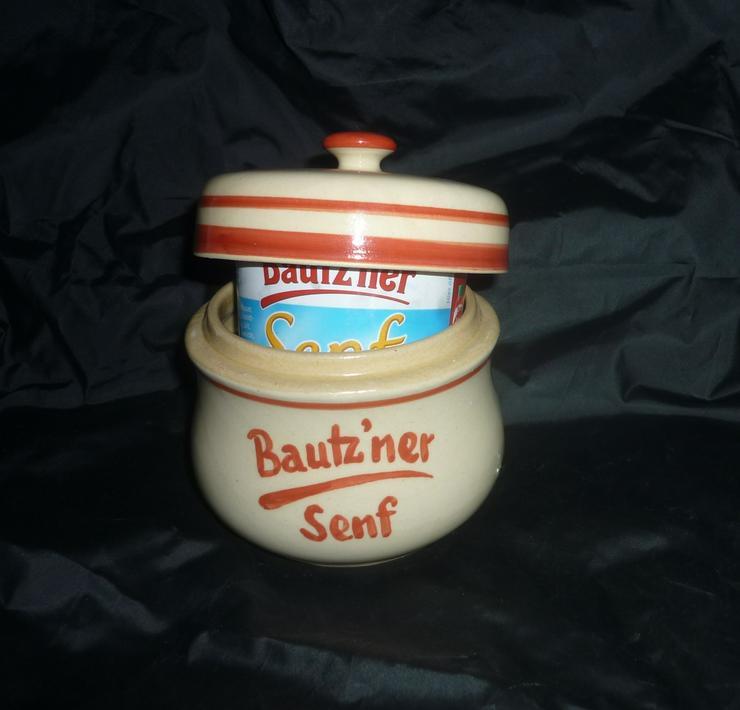 Bild 2: Bautzner Senftopf beige - blau  incl. Bautzener Becher